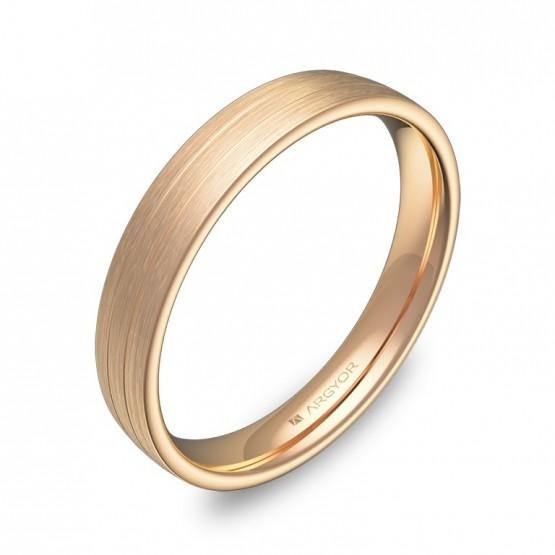 Alianza de boda de media caña con ranuras 3,5mm en oro rosa C3535S00R