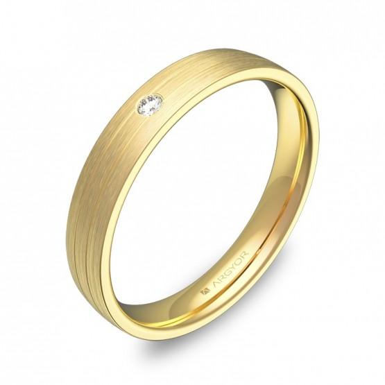 Alianza de boda con ranuras en oro satinado con diamante C3535S1BA