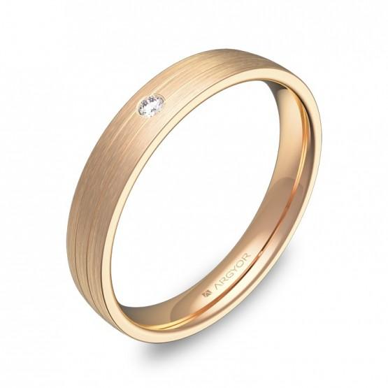 Alianza de boda oro rosa media caña con ranuras 1 diamante C3535S1BR