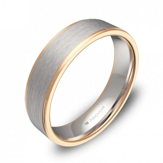 Alianza de boda plana con biseles 5,0mm en oro bicolor D0150C00R