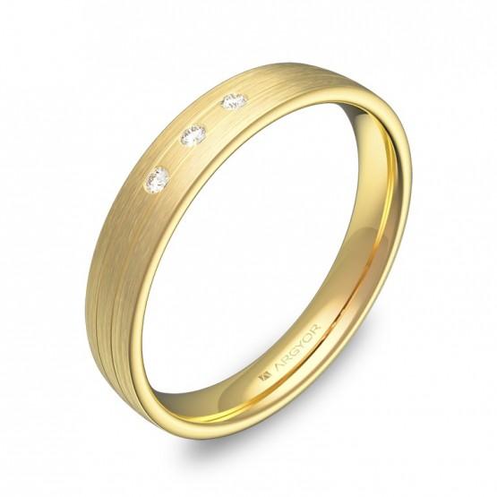 Alianza de boda 3,5mm oro amarillo satinado con diamantes C3535S3BA