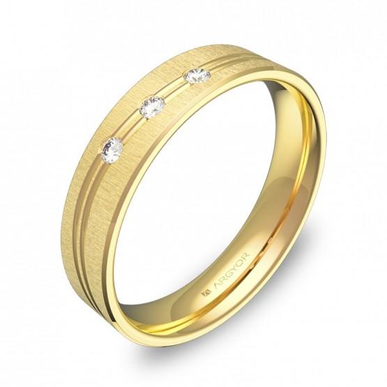 Alianza de boda de oro 4,5mm con ranuras y diamantes C3745T3BA