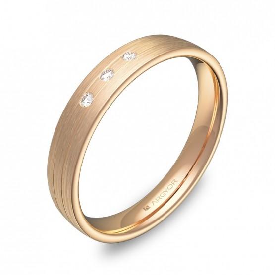 Alianza de boda de media caña 3,5mm en oro rosa 3 diamantes C3535S3BR