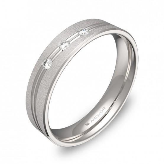 Alianza de boda con ranuras 4,5mm en oro blanco y diamantes C3745T3BB