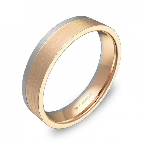 Alianza de boda con ranuras 4,5mm en oro bicolor satinado D0245S00R