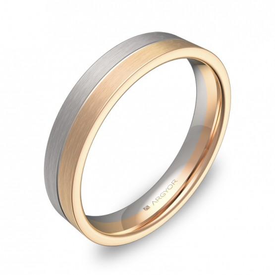 Alianza de boda plana con ranuras en oro bicolor satinado D0340S00R