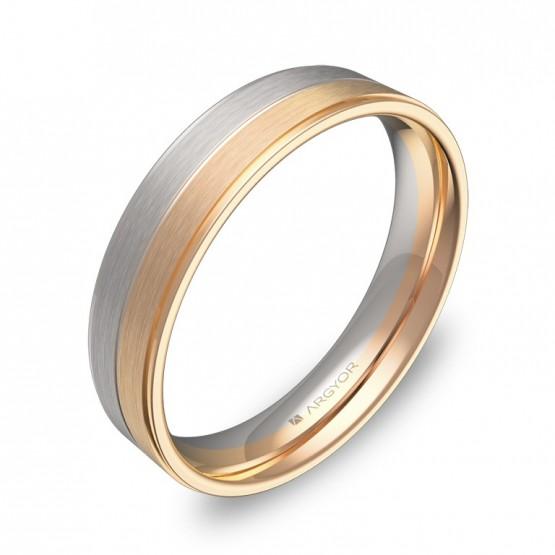 Alianza de boda 4,5mm en oro bicolor combinado D0545C00R