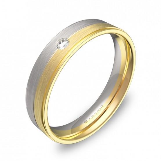 Alianza de boda con ranuras y biseles bicolor con diamante D0545C1BA