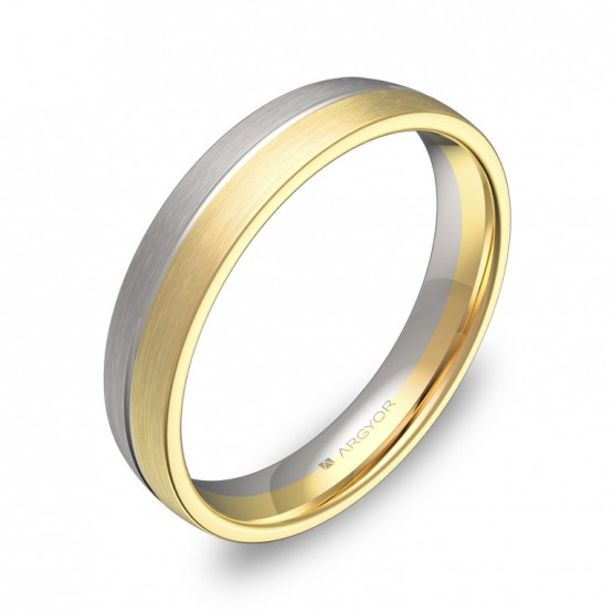 Alianza de boda con ranuras 4mm en oro bicolor satinado D0440S00A