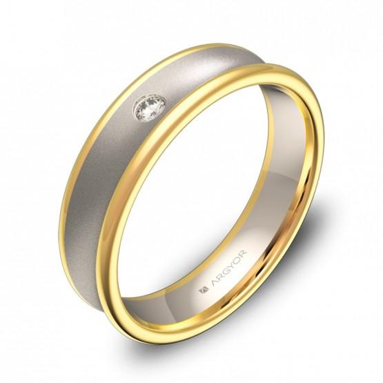 Alianza de boda cóncava 5mm oro bicolor con diamante D0750C1BA