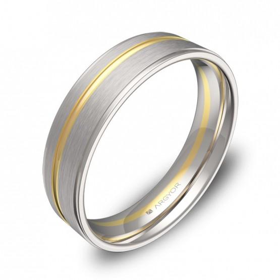 Alianza de boda con ranuras y biseles 5mm en oro bicolor D0850C00A