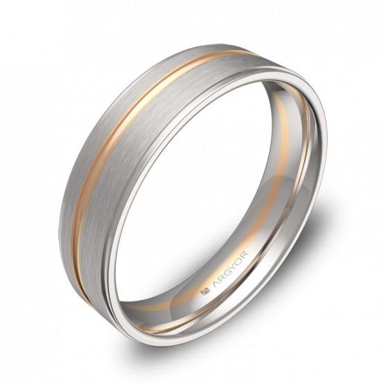 Alianza de boda 5mm en oro bicolor combinado D0850C00R