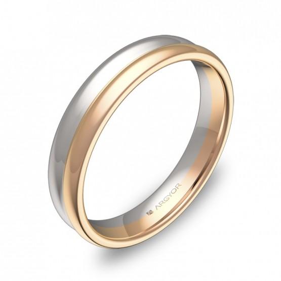 Alianza de boda de doble media caña en oro bicolor pulido D0940P00R