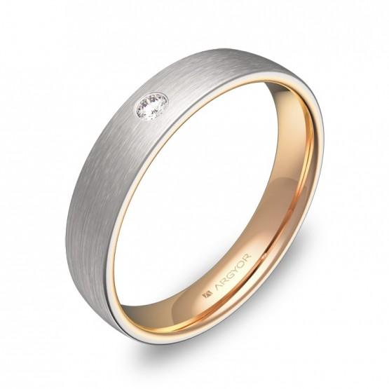 Alianza de boda de media caña en oro bicolor con diamante D1040S1BR