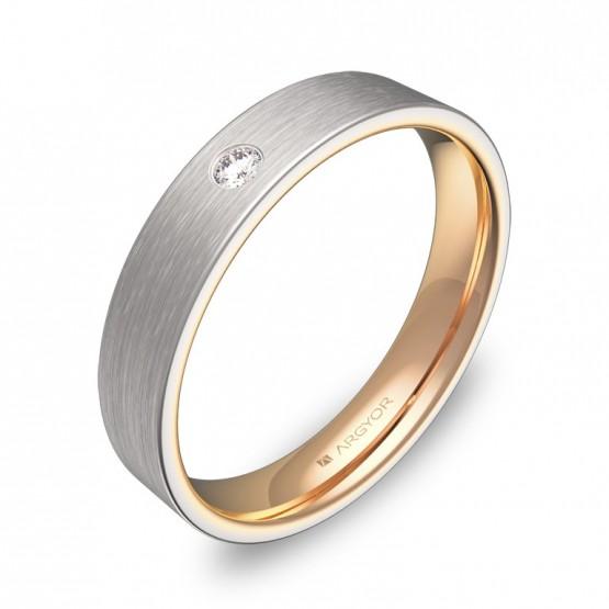 Alianza de boda plana en oro bicolor satinado con diamante D1140S1BR