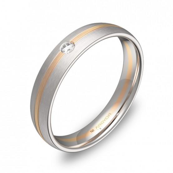 Alianza de boda con ranuras oro bicolor con diamante D1340S1BR