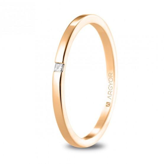 Alianza de boda de oro rosa con diamante (5R17530P)