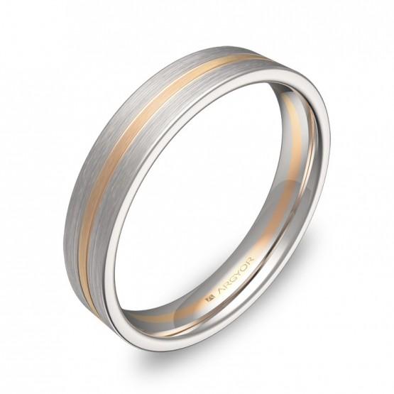 Alianza de boda plana con ranuras 4mm oro bicolor satinado D1540S00R