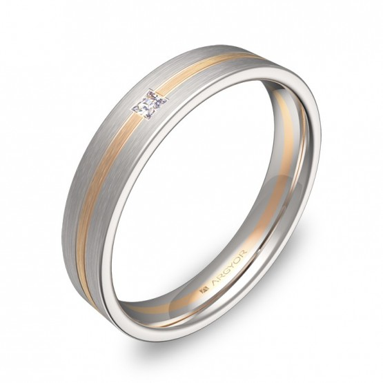Alianza de boda plana con ranuras oro bicolor con diamante D1540S1PR