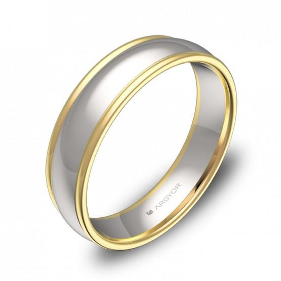 Alianza de boda oro bicolor media caña con biseles D1650P00A
