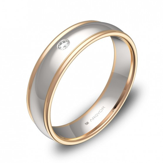 Alianza de boda con biseles en oro bicolor con diamante D1650P1BR