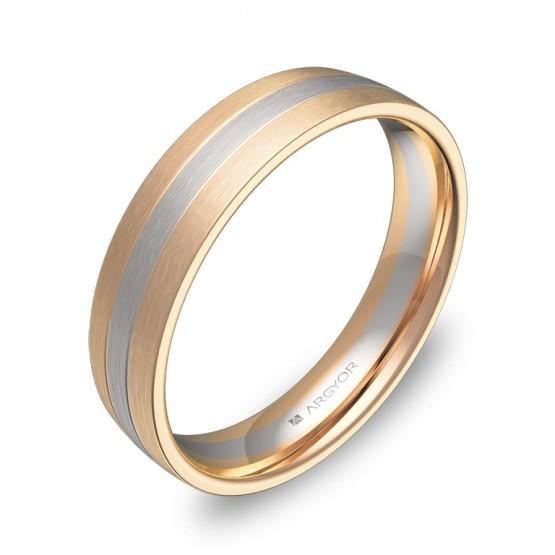 Alianza de boda media caña con ranuras 4,5mm en oro bicolor D1745S00R