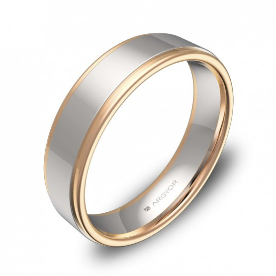 Alianza de boda plana con biseles 5mm en oro bicolor pulido D1850P00R