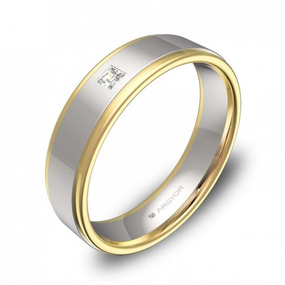Alianza de boda plana con biseles en oro bicolor 1 diamante D1850P1PA
