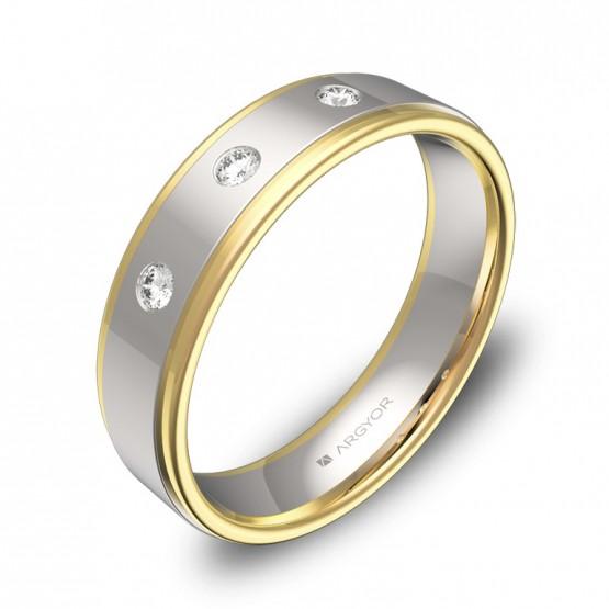 Alianza de boda 5mm en oro bicolor pulido con diamantes D1850P3BA