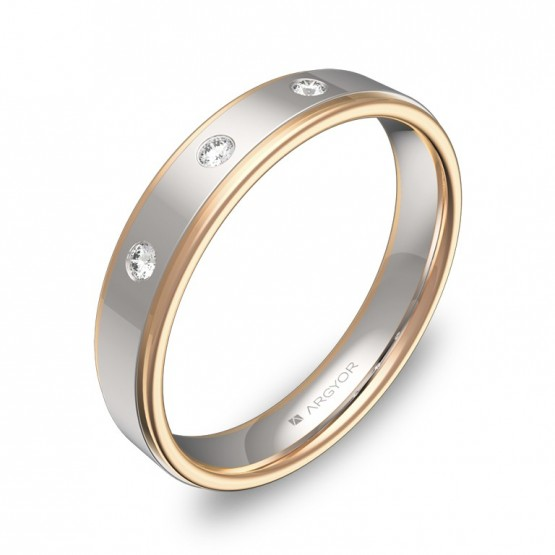 Alianza de boda en oro bicolor pulido con diamantes D1940P3BR