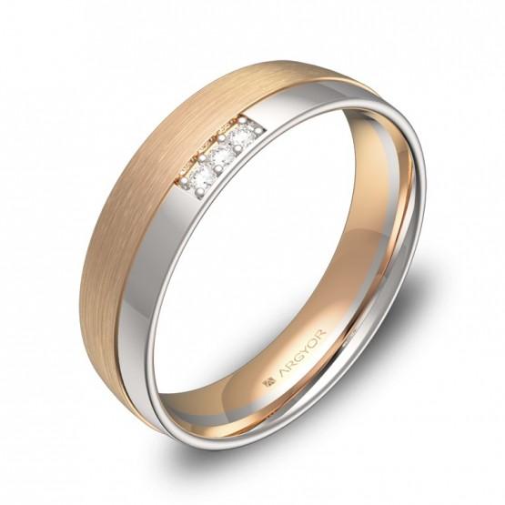 Alianza de boda 5mm en oro bicolor combinado con diamantes D2050C3BR