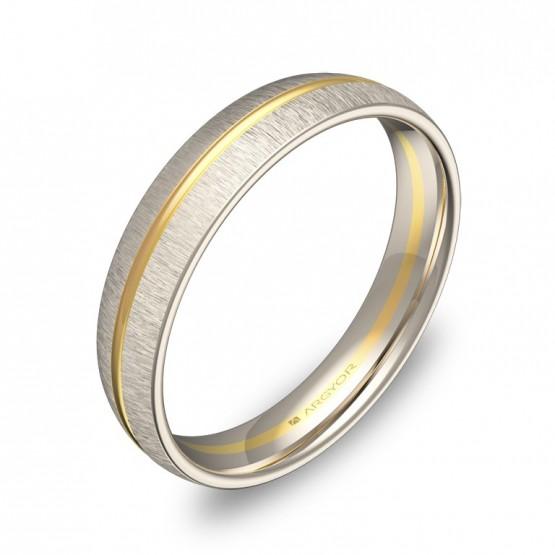 Alianza de boda con ranuras en oro bicolor textura D2140T00A