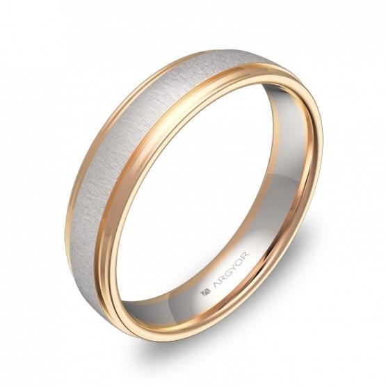 Alianza de boda de media caña con biseles 4,5mm oro bicolor D2245C00R