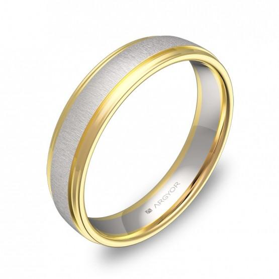 Alianza de boda con biseles 4,5mm oro bicolor combinado D2245C00A