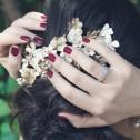 Alianza de boda 4mm oro bicolor textura con diamante D2140T1BA