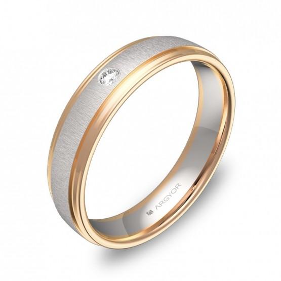 Alianza de boda de oro bicolor combinado con diamante D2245C1BR