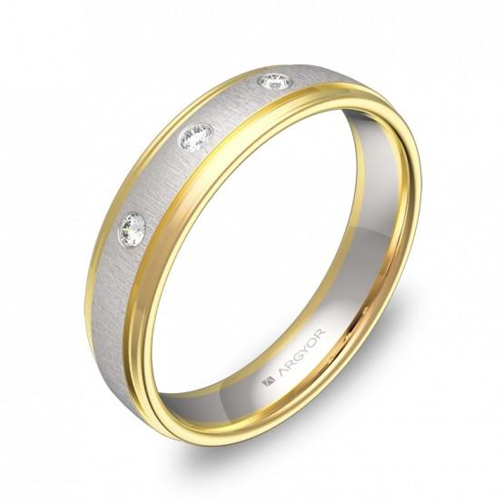 Alianza de boda oro bicolor combinado 4,5mm con diamantes D2245C3BA