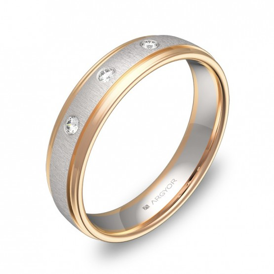 Alianza de boda de oro bicolor con biseles y diamantes D2245C3BR