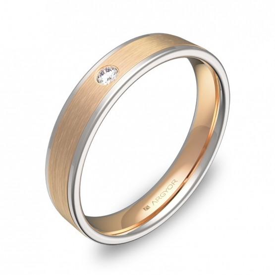 Alianza de boda con biseles de oro bicolor con 1 diamante D2440C1BR