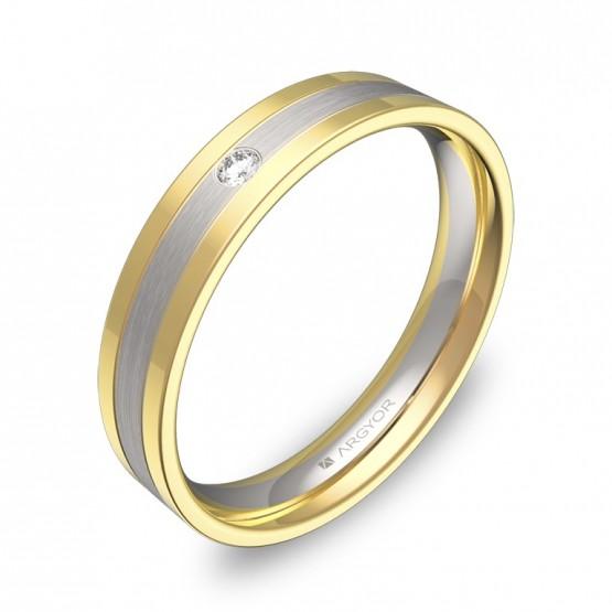 Alianza de boda con ranuras 4mm en oro bicolor con diamante D2540C1BA