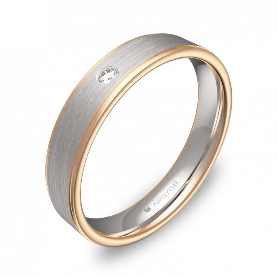 Alianza de boda con biseles 4mm en oro bicolor con diamante D2640C1BR