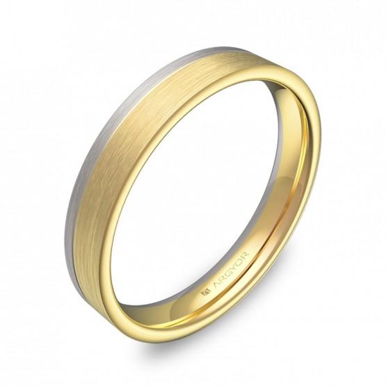 Alianza de boda con ranuras 3,5mm en oro bicolor satinado D2735S00A