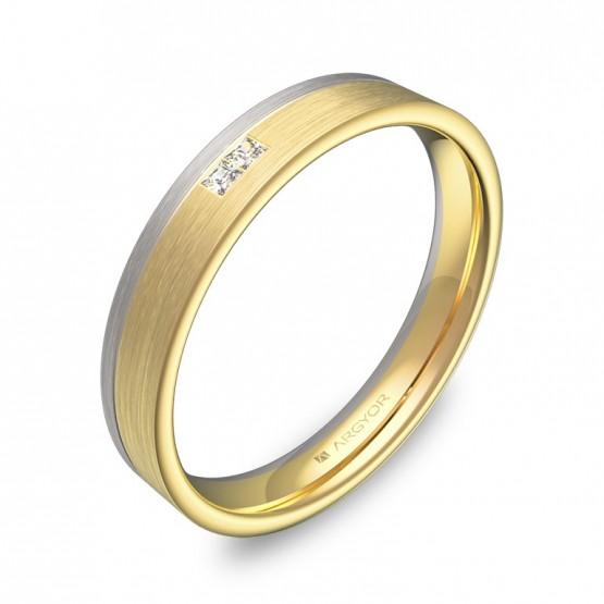 Alianza de boda 3,5mm oro bicolor satinado con diamantes D2735S2PA