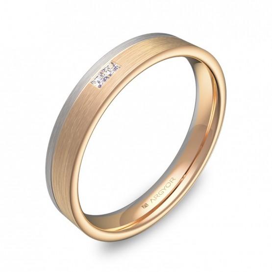 Alianza de boda  en oro bicolor satinado con diamantes D2735S2PR