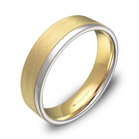 Alianza de boda 5mm en oro bicolor combinado D2850C00A