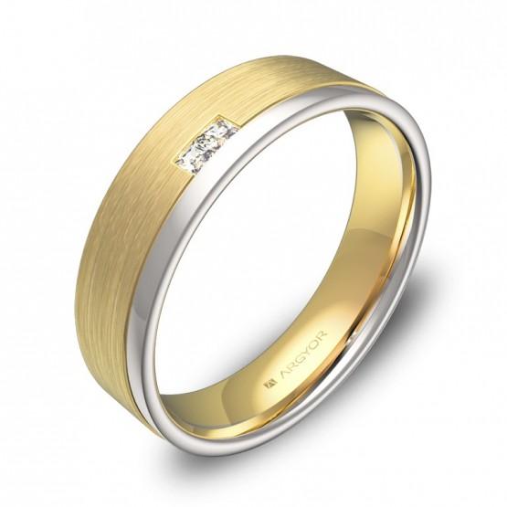 Alianza de boda 5mm oro bicolor combinado con diamantes D2850C2PA