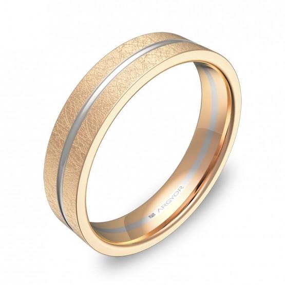 Alianza de boda plana con ranuras 4,5mm en oro bicolor hielo D2945H00R