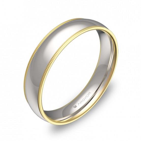 Alianza de boda de media caña con biseles en oro bicolor D3145P00A