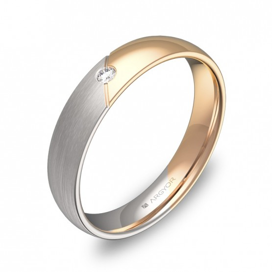 Alianza de boda con ranuras en oro bicolor con diamante D3040C1BR