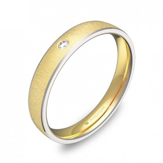 Alianza de boda de oro bicolor con biseles y diamante D3235T1BA